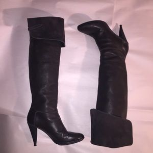 auth BALENCIAGA size 41 black leather thigh boots